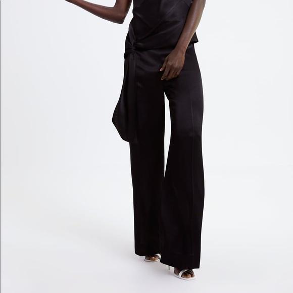 72138fea ZARA Wide Leg Satin Pants in Black NWT NWT